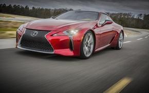 Picture car, Lexus, red, logo, asphalt, Lexus LC 500