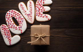 Picture love, romance, gifts, hearts, red, love, romantic, hearts, Valentine's Day, gift, cookies