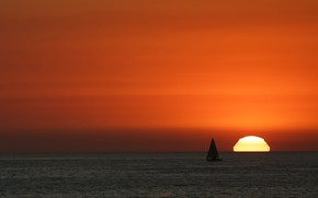 Picture sea, the sky, the sun, sunset, beauty, yacht