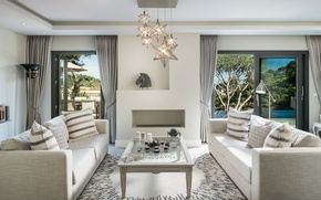 Picture chandelier, table, sofas, living room