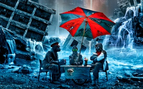 Picture people, umbrella, mask, table, romantically apocalyptic, ice cream time