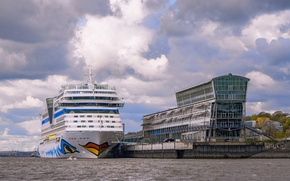 Picture ship, Germany, pier, liner, Hamburg, harbour