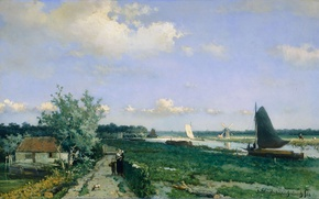Picture landscape, tree, boat, oil, picture, sail, Johan Hendrik Weissenbruch, The shipping Canal at Rijswijk