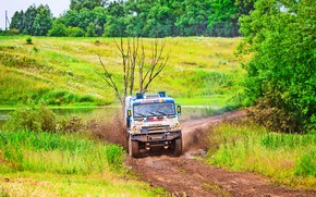 Picture Nature, Grass, Trees, Sport, Speed, Race, Master, Dirt, Squirt, Russia, Kamaz, Rally, Rally, KAMAZ, Master, ...