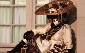 Picture girl, mask, costume, Venice, carnival