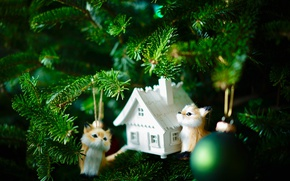 Picture light, holiday, toys, new year, ball, Christmas, house, tree, cubs