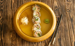 Picture food, sticks, rolls, wasabi, ginger