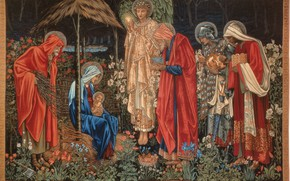Picture The adoration of the Magi, Burne-Jones, of_the_Magi, Tapestry, The Star Of Bethlehem, Adoration