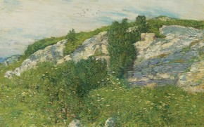 Picture landscape, picture, Frederick Childe Hassam, Childe Hassam, Ledges and Bay. Appledore