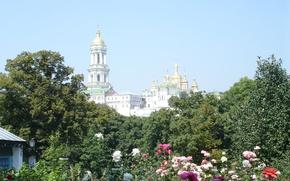 Wallpaper summer, the sky, roses, Kiev, Kiev - Pechersk Lavra