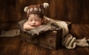 Picture Board, sleep, scarf, POM-poms, floor, box, child, cap, baby