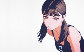 Wallpaper Ilya Kuvshinov, shoulders, grey background, face, portrait of a girl, two tails, bangs, look, black ...