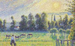 Wallpaper cows, Camille Pissarro, Pasture. Sunset. Eragny, landscape, picture