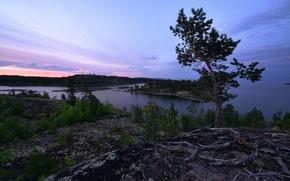 Picture white nights, Lake Ladoga, Karelia