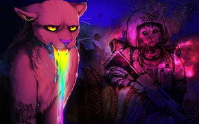 Picture eyes, color, space, weapons, cats, beauty, rainbow, the suit, spout, mouth, brightness, clarity, warriors, expressive