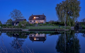 Picture water, trees, bench, lights, house, reflection, river, lawn, shore, boat, the evening, Netherlands, the bushes, …