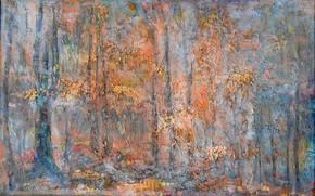 Picture forest, trees, Fog, yellow leaves, Svetlana Nesterova