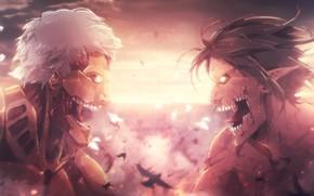 Picture monster, anime, fight, asian, giant, manga, japanese, asiatic, Shingeki no Kyojin, Attack On Titan, shounen, …
