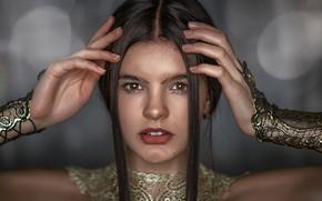 Picture look, face, hair, portrait, hands, Alexander Drobkov-Light, Julia Khudoleeva