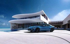 Picture Maserati, House, Blue, Water