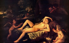 Picture woman, angels, Sleeping, see, Poussin, Nicholas, Venus And Cupid