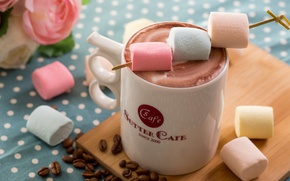 Wallpaper Cup, coffee, marshmallows