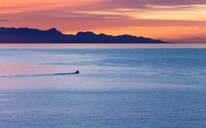 Picture twilight, sea, ocean, sunset, seascape, island, dusk, boat, silhouette, sailing