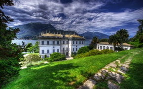 Picture greens, grass, the sun, clouds, trees, mountains, lake, palm trees, lawn, coast, HDR, home, Alps, ...