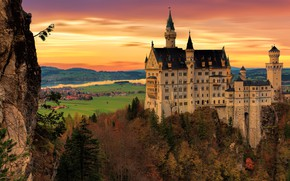 Picture autumn, forest, the sky, trees, landscape, sunset, mountains, castle, rocks, height, Germany, architecture, settlement, Neuschwanstein, …