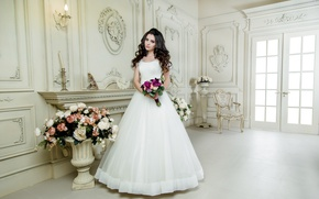 Wallpaper style, holiday, bouquet, makeup, hairstyle, the bride, wedding, decor