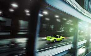 Picture Color, Auto, Lamborghini, Green, Machine, Car, 1968, Supercar, Lamborghini Miura, Green, P400, Lamborghini Miura P400, …