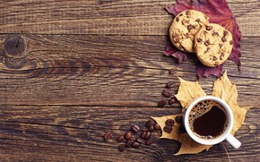 Picture autumn, leaves, coffee, cookies, Cup, wood, autumn, leaves, book, cookies, fall, cup of coffee