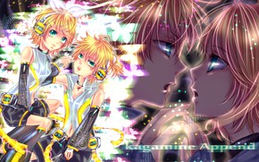 Picture headphones, two, bow, Vocaloid, Vocaloid, Kagamine Len, Kagamine Rin