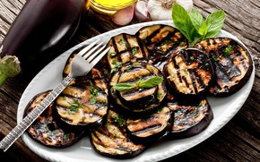 Picture eggplant, grill, Basil