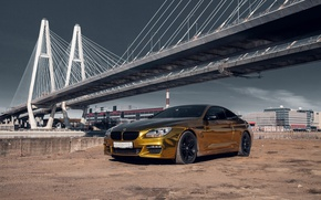 Picture car, machine, auto, bridge, city, fog, race, bmw, BMW, car, sports car, gold, car, need ...