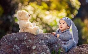Picture nature, stones, toy, hare, baby, bear, costume, child, bokeh, Derek Zhang