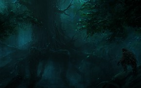Picture tree, the darkness, root, ChrisCold, Hunter In The Dark Forest