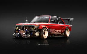 Wallpaper BMW, Yasid Oozeear, 1974 BMW 2002, 1974, 2002, Rendering, The front, BMW 2002, Red, Art, ...