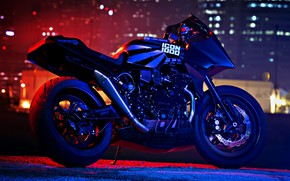 Picture Kawasaki, moto, night, custom, 1984, sportbike, gpz900r, icon1000, Old Ghost, 84'