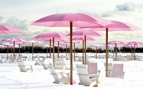 Picture winter, beach, snow, umbrella, chair, chaise