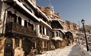 Wallpaper winter, the sky, snow, the city, street, tree, home, lights, sky, winter, snow, street, houses, ...
