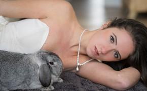 Picture look, girl, face, rabbit, Nina