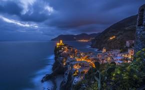 Picture sea, night, home, Italy, rock, Vernazza