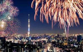 Picture night, lights, salute, Japan, Tokyo, the Sumida river, fireworks festival