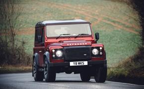 Picture road, red, turn, SUV, Land Rover, 2018, dampness, Defender, V8, Defender Works V8, jubilee spezzare