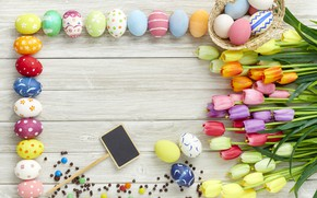 Picture flowers, eggs, spring, colorful, Easter, tulips, wood, flowers, tulips, spring, Easter, eggs, decoration, Happy