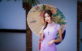 Picture girl, umbrella, dress, Asian