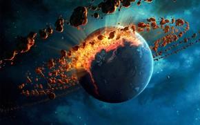 Wallpaper energy, fire, planet, destruction