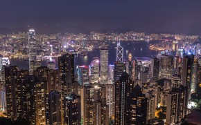 Picture night, the city, building, Hong Kong, panorama, China