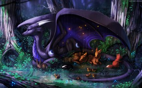 Picture forest, trees, night, art, creatures, fantasy